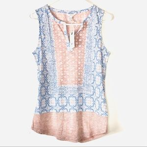 NWT Lucky Brand Blue and Pink V-Neck Tank Top